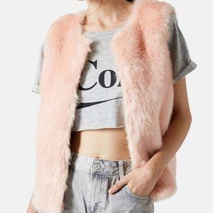 TOPSHOP Blush Pink Faux Fur Vest